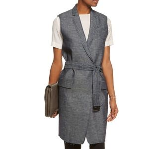 New Rag & Bone Harold Raw Edge Long Denim Vest XS